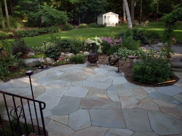 Top 60 Best Flagstone Patio Ideas - Hardscape Designs on Small Backyard Stone Patio Ideas id=77223