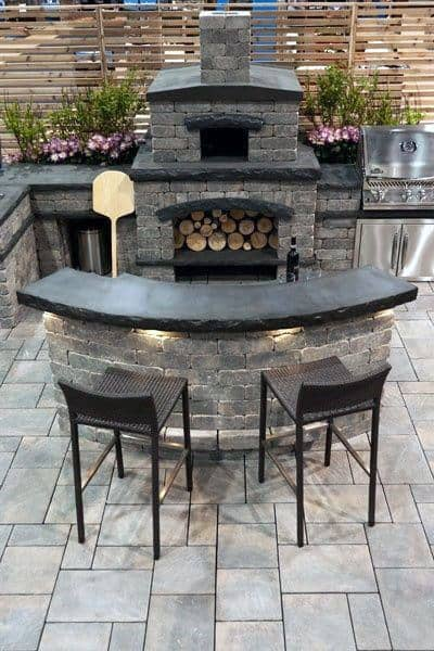 Backyard Outdoor Bar Ideas With Wood Burning Fireplace