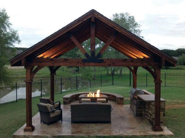 Backyard Outdoor Pavilion Structures With Firepit