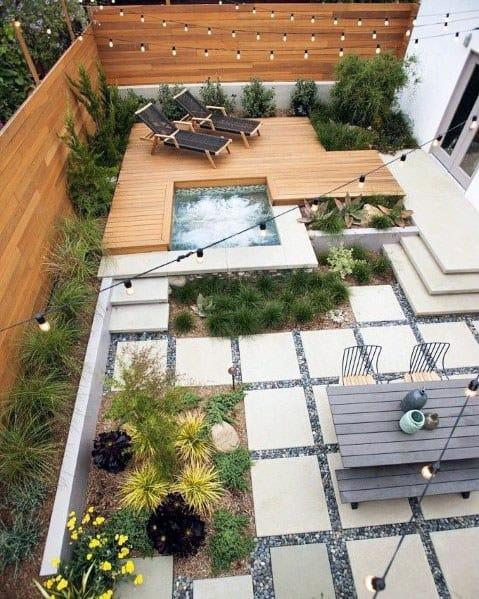 Backyard Patio With Modern Floating Wood Deck