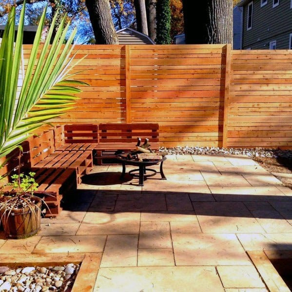 Backyard Patio Wood Dog Fence Design