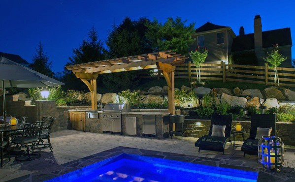 Backyard Pool Built In Grill Design With Wood Pergola