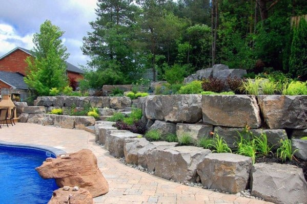 Backyard Pool Rock Wall Ideas Slope Landscaping