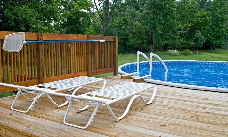 Backyard Simple Above Ground Pool Wood Deck