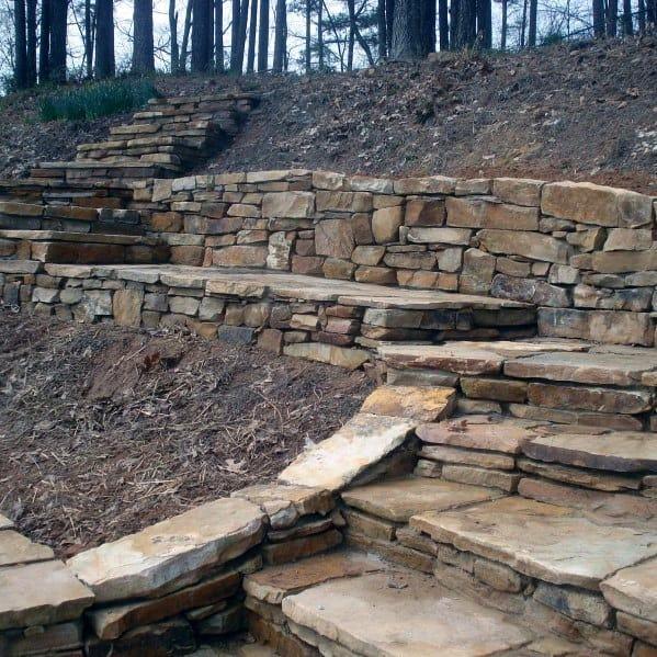 Backyard Slope Natrual Stone Walkway Ideas