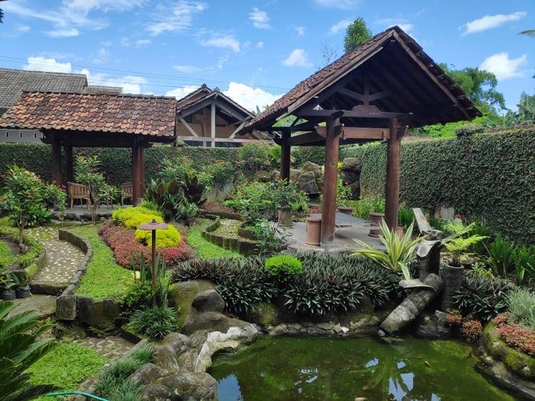 Backyard Small Shallow Pond With Gazebo
