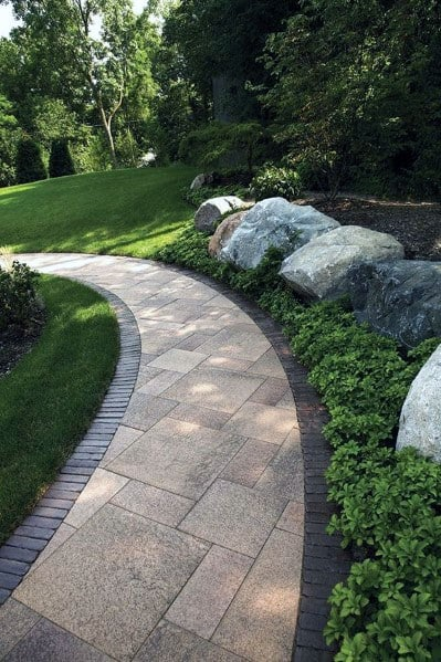Backyard Stamped Curved Concrete Walkway Home Designs