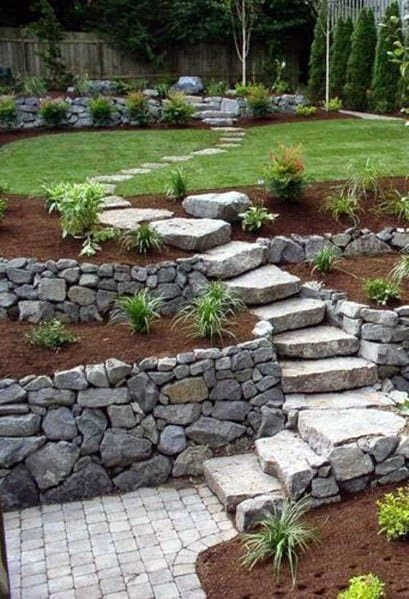 Backyard Stone Stairs Ideas Slope Landscaping