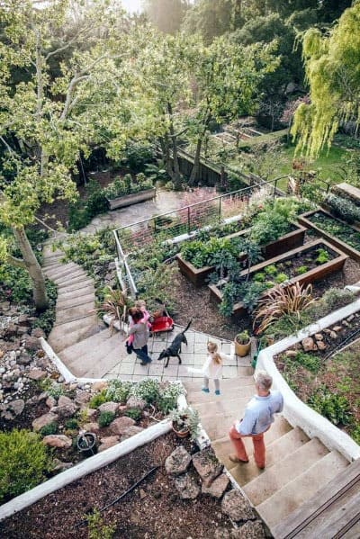 Backyard Stone Stairs Slope Landscaping Ideas