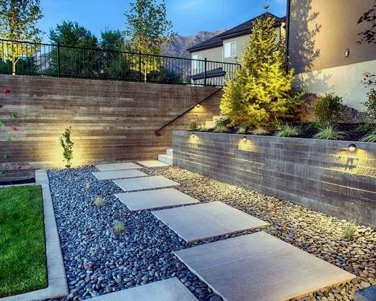 Backyard Stones Concrete Walkway Ideas