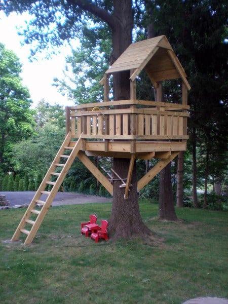 Backyard Treehouse Ideas - Top 60 Best Treehouse Ideas - Wooden Wonder Designs
