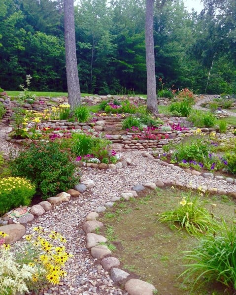 Backyard Walkway Exterior Ideas Stone Edging
