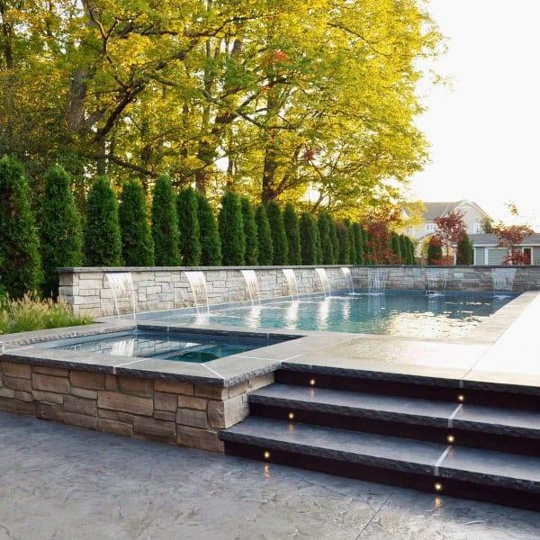 Backyard Waterfalls Pool Area