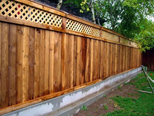 Backyard Wood And Concrete Dog Fence Home Designs