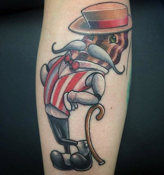 Bacon With Largegrey Moustache And Hat Tattoo Male Forearms