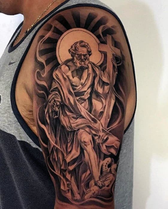 Badass Chicano Mens Half Sleeve Cross Tattoo Ideas