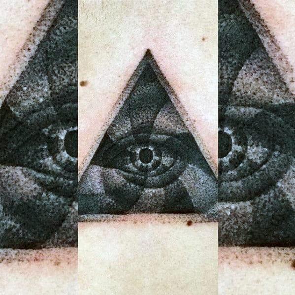 Badass Dotwork Eye Triangle Small Mens Back Tattoo