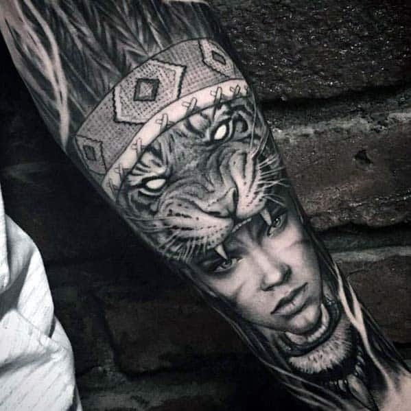 Badass Forearm Sleeve Guys Tiger With Female Indian Portrait Tattoo