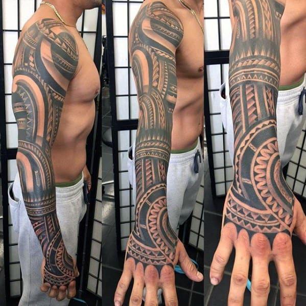 Badass Full Arm Sleeve Tribal Tattoos Men
