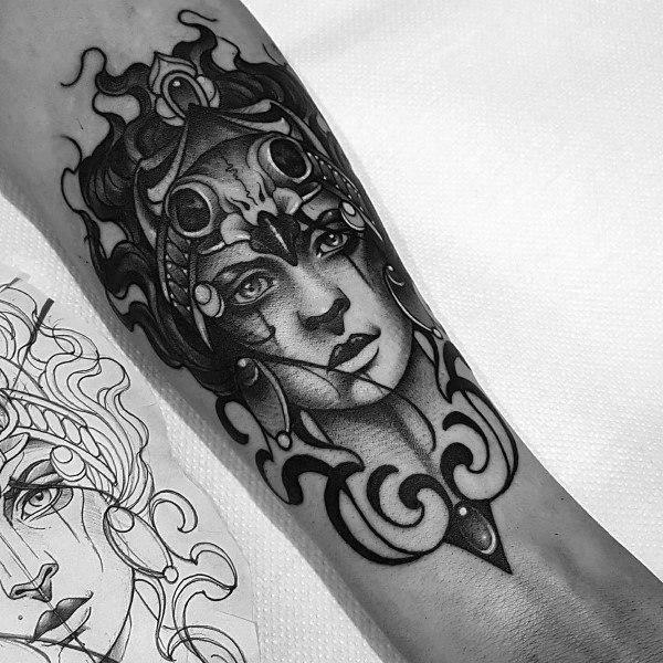 Badass Guys Athena Themed Tattoos