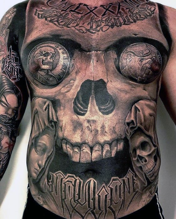 Badass Guys Skull Black And Grey Ink Chest Tattoos