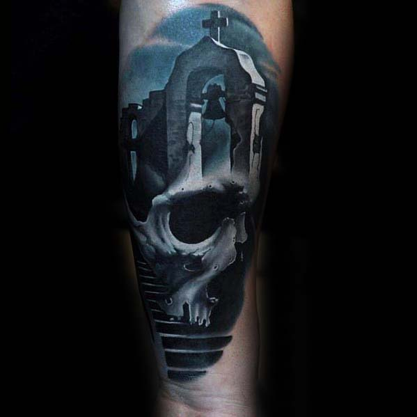 Badass Male Forearm Tattoo With Skull And Church Stone 3d Design