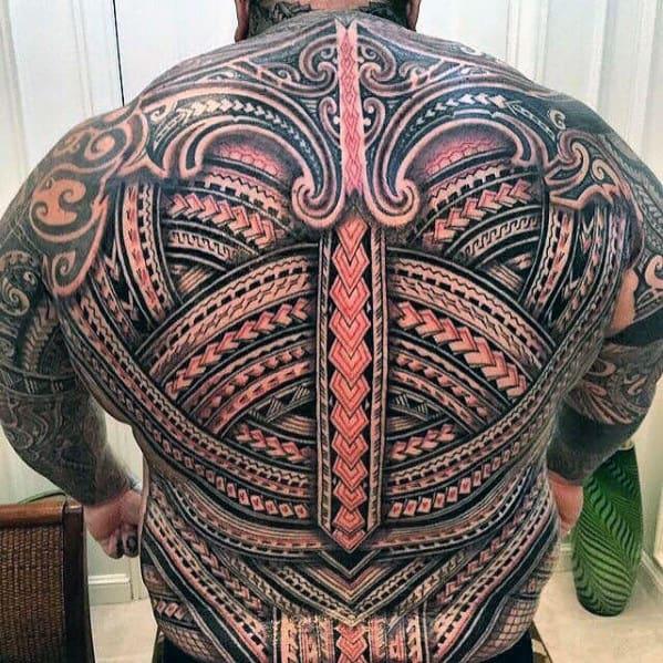 Badass Mens Polynesian Tribal 3d Back Tattoos