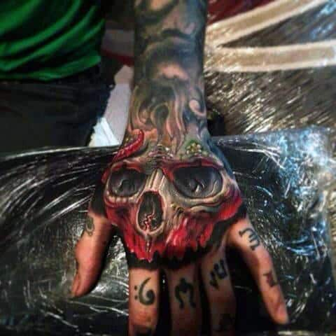 Badass Mens Skull Hand Tattoos
