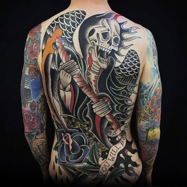 Badass Mens Tradtional Old School Grim Reaper Tattoo On Back