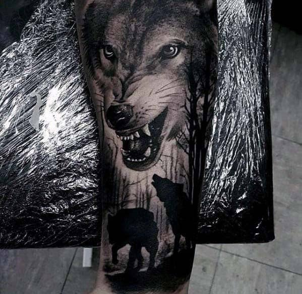 Badass Mens Wolf Forearm Sleeve Tattoo