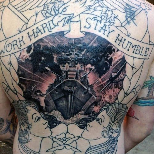 Badass Mens Work Hard Stay Humble Navy Ship Back Tattoo Designs
