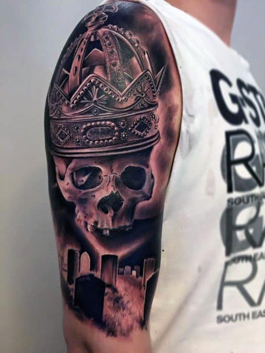 Badass Skull Half Sleeve Tattoo On Men