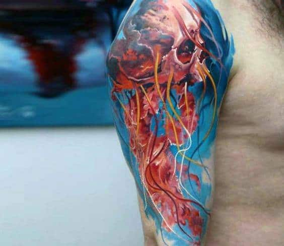 Badass Skull Jellyfish Half Sleeve Tattoos Male