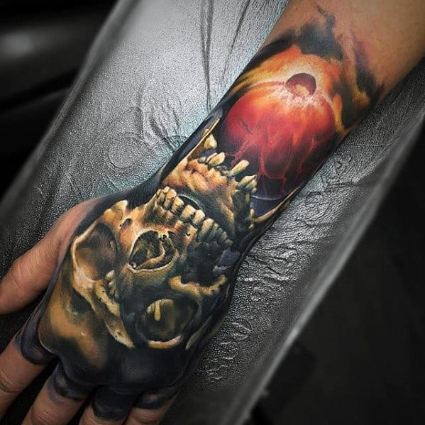 Badass Skull Male Hand Tattoo Design Inspiration