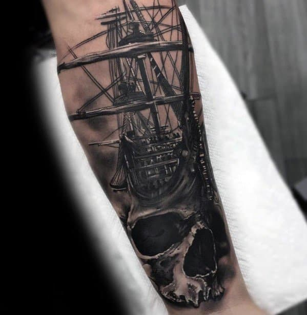 Badass Skull Sailing Ship Forearm Tattoos For Gentlemen