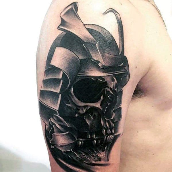 Badass Skull Samuari Helmet Arm Male Tattoo Designs