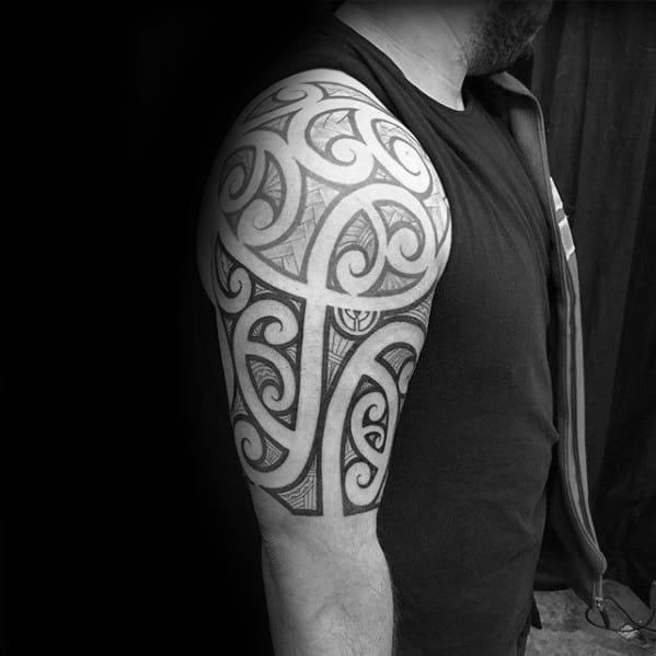 Badass Tribal Half Sleeve Negative Space Tattoo Ideas For Gentlemen