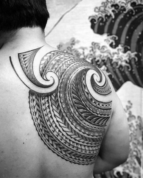 Badass Tribal Polynesian Shoulder Blade Mens Tattoo Ideas