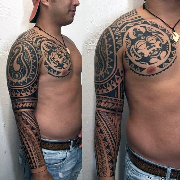 Badass Tribal Sleeve Hawaiian Tattoos Male