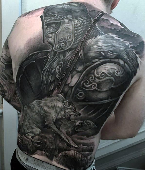 Badass Viking Warrior With Wolf Mens Tattoo On Back