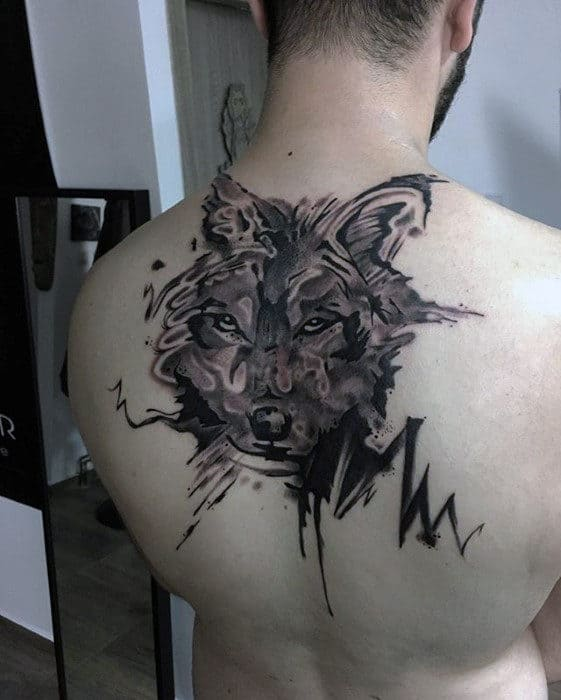Badass Watercolor Mens Upper Back Wolf Tattoos
