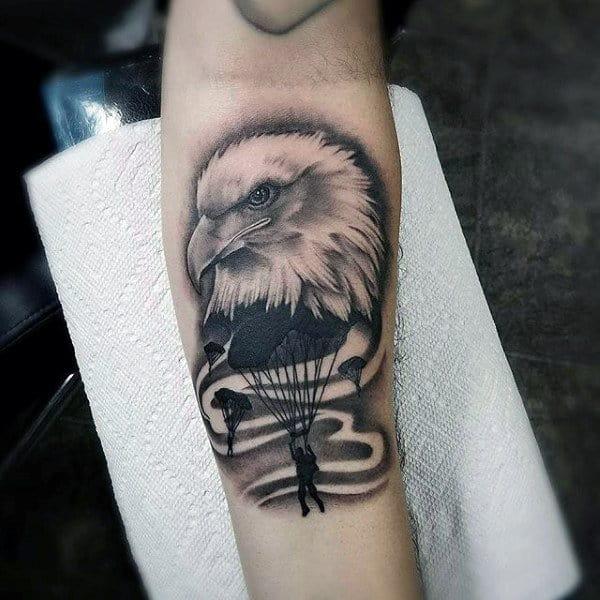 Bald Eagle Airborne Parachute Mens Inner Forearm Tattoo Ideas