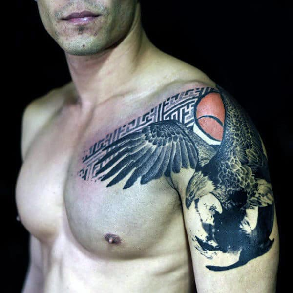 Bald Eagle Artistic Design With Orange Sun Mens Shoulder And Arm Tattoo