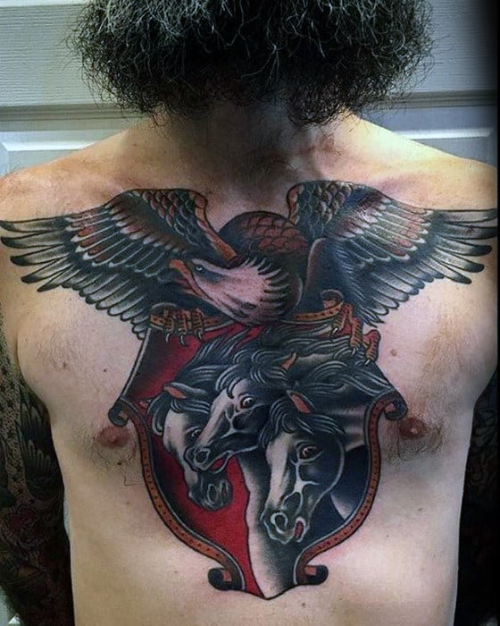 Bald Eagle Bird With Horses Mens Traditional Chest Tattoos