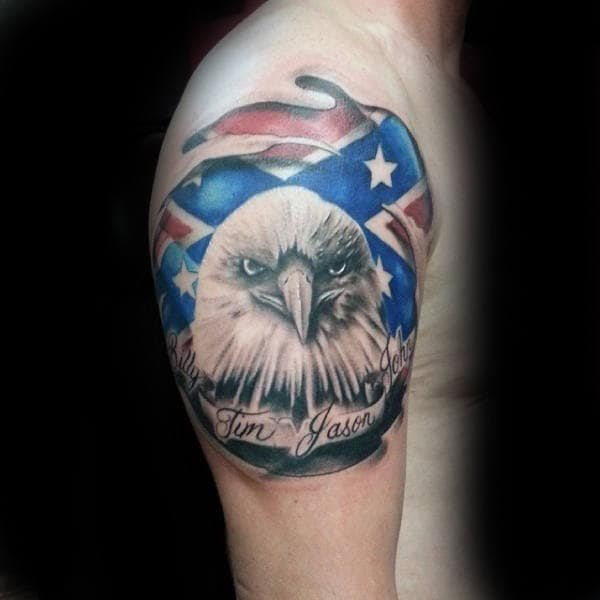 Bald Eagle Confederate Rebel Flag Mens Upper Arm Tattoo Design Ideas