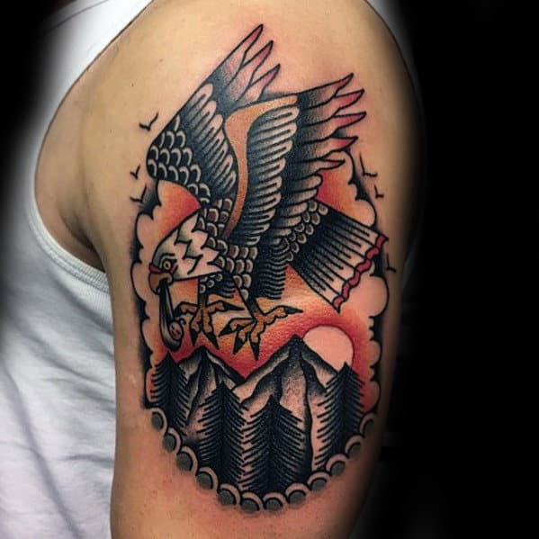 Bald Eagle Flying Over Mountain Guys Traditional Bird Arm Tattoo