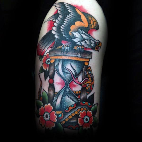 Bald Eagle Flying With Hourglass Male Traditional Tattoo On Arm