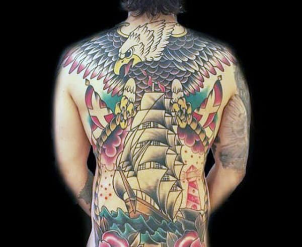 Bald Eagle Full Back Sailing Ship Male Traditional Tattoo Designs