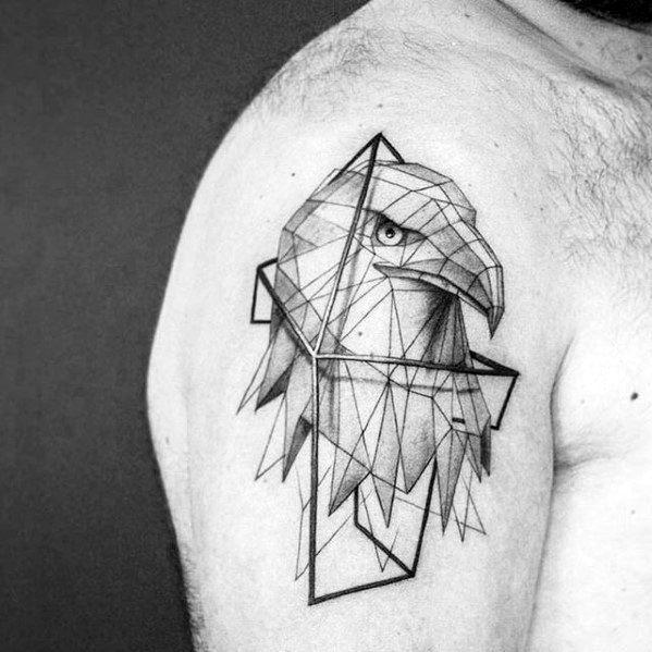 Bald Eagle Geometric Arm Tattoo Design On Man