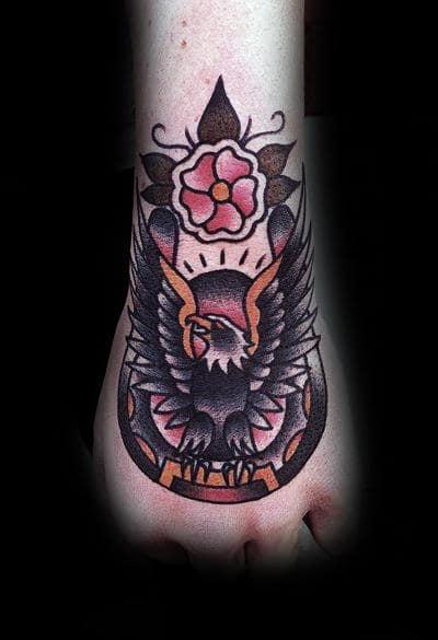 Bald Eagle Horseshoe Tradtional Foot Tattoos For Guys